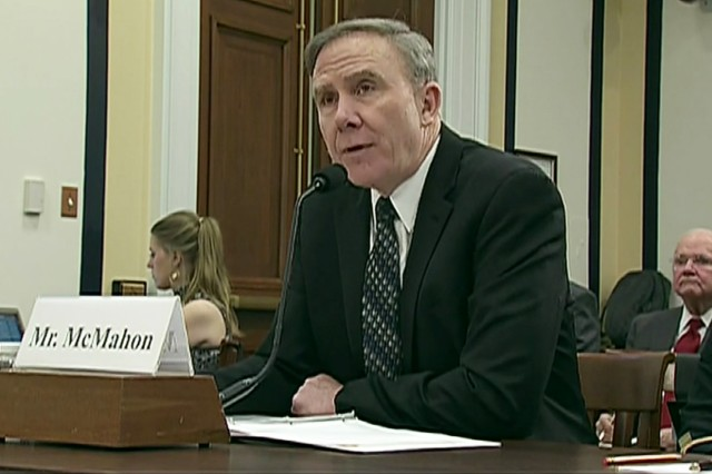 Robert H. McMahon, assistant defense secretary for sustainment testifies before the Senate Appropriations Subcommittee on Military Construction, Veterans Affairs, and Related Agencies, April 9, 2019.