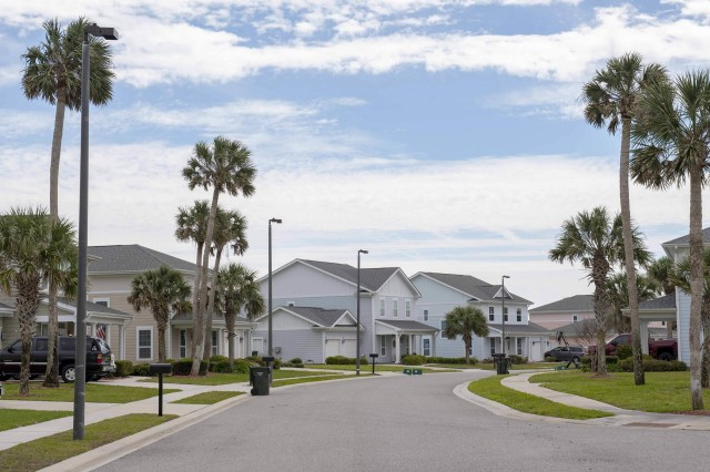 Homes at Bennett Shores East, an on-base military housing community at Naval Station Mayport, Fla., March 18, 2019.