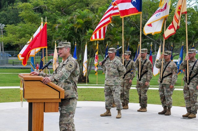 "The United States Army Garrison Fort Buchanan conducted the Change of Command Ceremony, in which Colonel Guy D. Bass relinquished command of the only federal military installation in Puerto Rico to Colonel Joseph B. Corcoran III, June 5, 2019. The ceremony, hosted by Brenda Lee McCullough, Director IMCOM (Installation Management Command) - Readiness, was held at Soldier's Plaza and was attended by more than 200 guests from all sectors of Fort Buchanan's community. After receiving command, Col. Corcoran expressed that ""It is truly my honor to stand before you as a successor to the distinguished lineage of commanders who for nearly a century set an example of commitment to ensuring Fort Buchanan was always ""The Sentinel of the Caribbean'."""