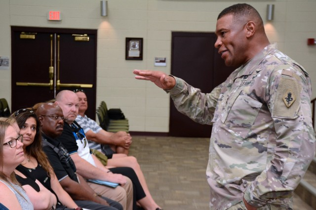 Maj. Gen. Patrick D. Sargent entertains questions from a group of over 70 high school administrators, teachers and college professors visiting from across Wisconsin, Northern Illinois and Ohio sponsored by the Cleveland and Milwaukee U.S. Army Recruiting Battalions.