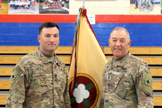 Capt. Jason D. Llittle, Jr. stands with Command Sgt. Maj. Jason D. Little, Sr., 184th Sustainment Command at Camp Arifjan, Kuwait, June 1, 2019. (U.S. Army National Guard photo by Sgt. Connie Jones)