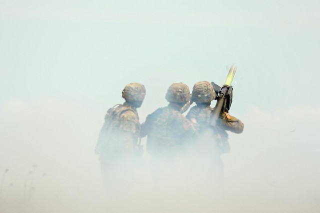 Sgt. Zane Pettibone and Spc. Svenson Albert, infantrymen and members of a Stinger Man-Portable Air Defense System (MANPAD) team with 1st Battalion, 16th Infantry Regiment, 1st Armored Brigade Combat Team, 1st Infantry Division, fire and hit an outlaw drone target, as part of exercise Shabla 19, June 13, 2019. Shabla 19 is designed to improve readiness and interoperability between the Bulgarian Air Force, Navy and Land Forces, and the 10th Army Air and Missile Defense Command, U.S. Army Europe. (U.S. Army photo by Sgt. Thomas Mort)