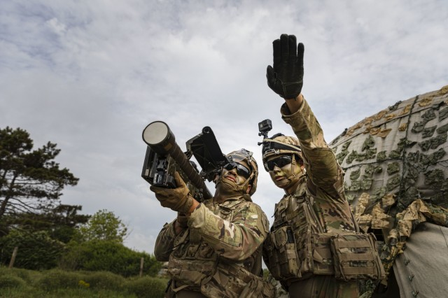 Sgt. Zane Pettibone and Spc. Svenson Albert, a Stinger Man-Portable Air Defense System (MANPADS) team with 1st Battalion, 16th Infantry Regiment, 1st Armored Brigade Combat Team, 1st Infantry Division, conduct engagement sequences and the 13 critical checks of the Stinger Man-Portable Air Defense System (MANPADS), as part of the multinational live-fire training exercise Shabla 19, June 13, 2019. Shabla 19 is designed to improve readiness and interoperability between the Bulgarian Air Force, Navy and Land Forces, and the 10th Army Air and Missile Defense Command, U.S. Army Europe. (U.S. Army photo by Sgt. Thomas Mort)