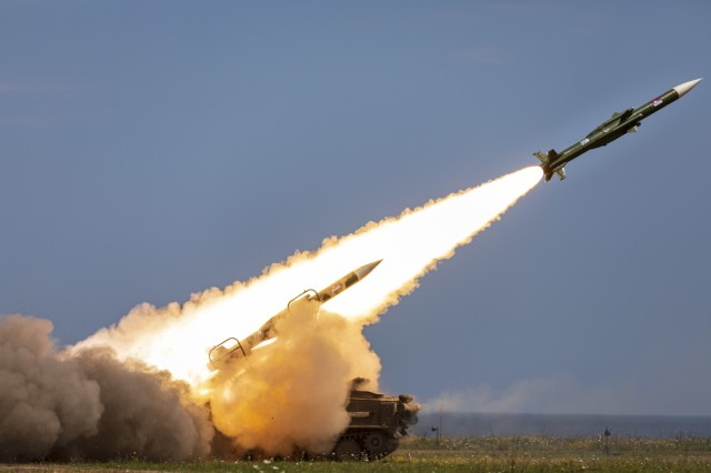 A 2K12 Kub mobile surface-to-air missile system fires during the multinational live-fire training exercise Shabla 19, June 13, 2019. Shabla 19 is designed to improve readiness and interoperability between the Bulgarian Air Force, Navy and Land Forces, and the 10th Army Air and Missile Defense Command, U.S. Army Europe. (U.S. Army photo by Sgt. Thomas Mort)
