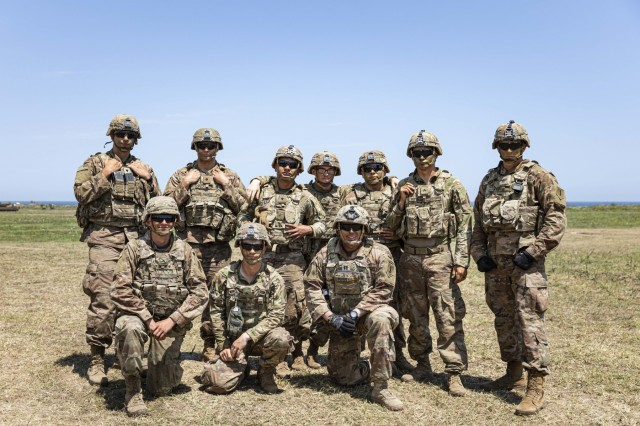 Soldiers with 1st Armored Brigade Combat Team, 1st Infantry Division take a break for a photo, following their participation in the multinational live-fire training exercise Shabla 19, June 13, 2019. Shabla 19 is designed to improve readiness and interoperability between the Bulgarian Air Force, Navy and Land Forces, and the 10th Army Air and Missile Defense Command, U.S. Army Europe. (U.S. Army photo by Sgt. Thomas Mort)