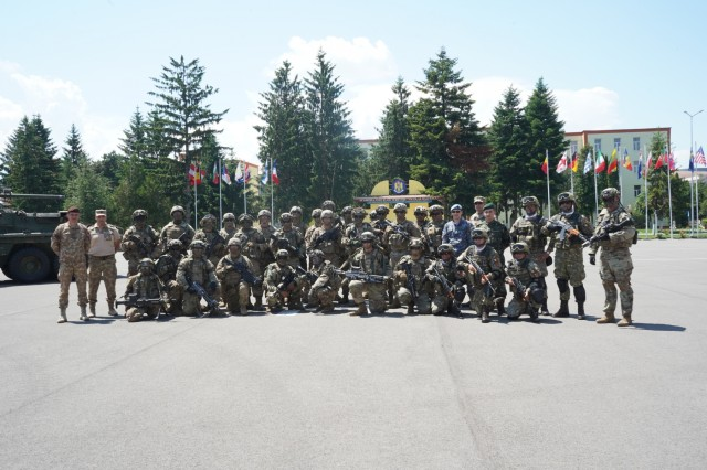 U.S. Army Soldiers assigned to the 1st Squadron, 2d Cavalry Regiment, and members from the Romanian Land Forces and Romanian Air Force join together for the Saber Guardian 2019 static display in Sibiu, Romania, June 15, 2019. SG19 is an exercise co-led by the Romanian Land Forces & U.S. Army Europe, taking place from June 3 - 24 at various locations in Bulgaria, Hungary & Romania. SG19 is designed to improve the integration of multinational combat forces.