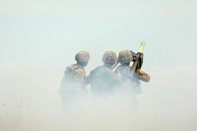 Sgt. Zane Pettibone and Spc. Svenson Albert, infantrymen and members of a Stinger Man-Portable Air Defense System (MANPAD) team with 1st Battalion, 16th Infantry Regiment, 1st Armored Brigade Combat Team, 1st Infantry Division, fire and hit an outlaw drone target, as part of exercise Shabla 19, June 11, 2019. Shabla 19 is designed to improve readiness and interoperability between the Bulgarian Air Force, Navy and Land Forces, and the 10th Army Air and Missile Defense Command, U.S. Army Europe. (U.S. Army photo by Sgt. Thomas Mort)