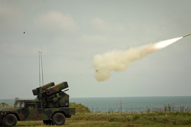 An Avenger Air Defense System, operated by Soldiers with 5th Battalion, 4th Air Defense Artillery Regiment, fires during the multinational live-fire training exercise Shabla 19, June 11, 2019. Shabla 19 is designed to improve readiness and interoperability between the Bulgarian Air Force, Navy and Land Forces, and the 10th Army Air and Missile Defense Command, U.S. Army Europe. (U.S. Army photo by Sgt. Thomas Mort)