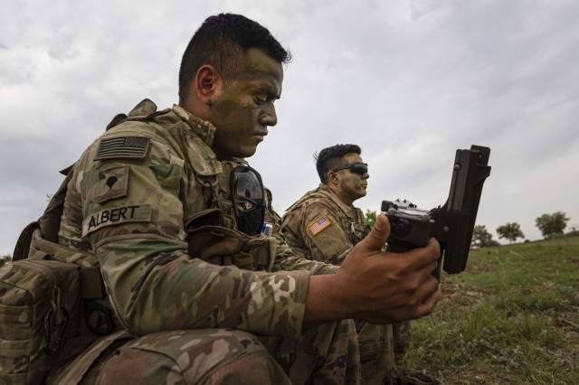 Spc. Svenson Albert, an infantryman with 1st Battalion, 16th Infantry Regiment, 1st Armored Brigade Combat Team, 1st Infantry Division, conducts engagement sequences and the 13 critical checks of the Stinger Man-Portable Air Defense System (MANPADS) prior to firing, the multinational live-fire training exercise Shabla 19, June 11, 2019. Shabla 19 is designed to improve readiness and interoperability between the Bulgarian Air Force, Navy and Land Forces, and the 10th Army Air and Missile Defense Command, U.S. Army Europe. (U.S. Army photo by Sgt. Thomas Mort)