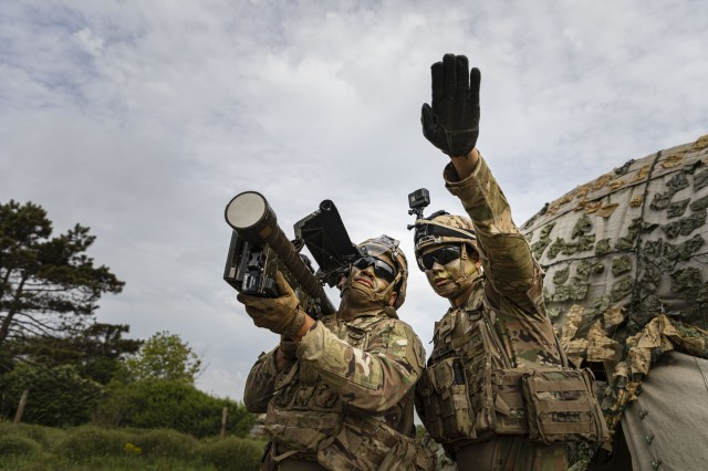 Sgt. Zane Pettibone and Spc. Svenson Albert, a Stinger Man-Portable Air Defense System (MANPADS) team with 1st Battalion, 16th Infantry Regiment, 1st Armored Brigade Combat Team, 1st Infantry Division, conduct engagement sequences and the 13 critical checks of the Stinger Man-Portable Air Defense System (MANPADS), as part of the multinational live-fire training exercise Shabla 19, June 11, 2019. Shabla 19 is designed to improve readiness and interoperability between the Bulgarian Air Force, Navy and Land Forces, and the 10th Army Air and Missile Defense Command, U.S. Army Europe. (U.S. Army photo by Sgt. Thomas Mort)