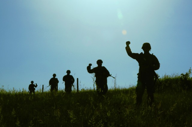 Members of the 838th Military Police Company out of Youngstown, Ohio, conduct a cordon and search exercise in the lush green Pre�evo Valley June 13 as part of Platinum Wolf 2019 in South Base, Serbia. Platinum Wolf is a multinational peacekeeping exercise designed to enhance interoperability and cooperation between partner and allied nations while building relationships. As part of Department of Defense's State Partnership Program, the Ohio National Guard has had a state partnership with Serbia since 2006.