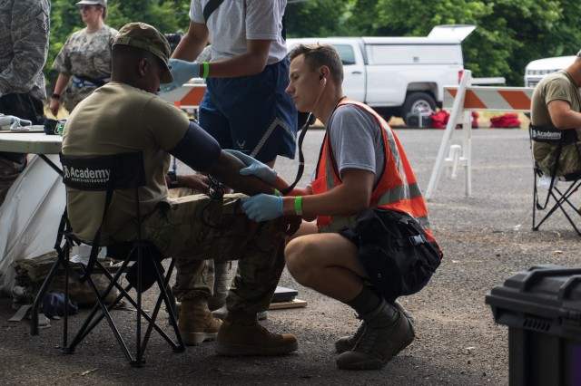 Georgia Air National Guardsmen from the Warner Robins-based 116th Air Control Wing conduct pre-entry physicals to members of the Georgia Army National Guard's Marietta based 138th Chemical Company prior to chemical training at the Memphis Fire Department Training Center in Memphis, Tenn., on June 4, 2019. Georgia Army and Air National Guard operate jointly as members of the FEMA Region 4 Homeland Response Force.