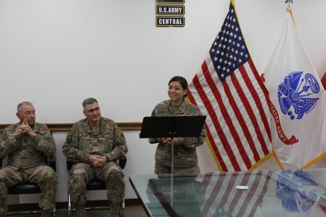 Lt. Col. Maria Carrillo, 320th Quartermaster Detachment commander, shares words of gratitude at Camp Arifjan, Kuwait, June 8, 2019. (U.S. Army National Guard photo by Sgt. Ashley Breland)