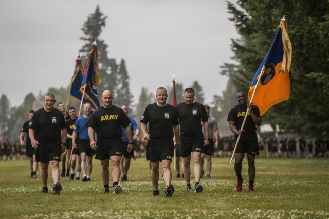 America's I Corps Soldiers celebrate the Army's birthday with a motivational run on Joint Base Lewis-McChord June 14. The run was followed by a cake-cutting ceremony celebrating 244 years of Army service.