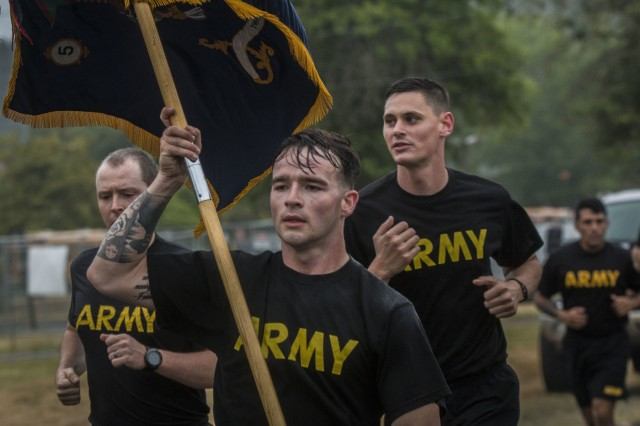 America's I Corps Soldiers celebrate the Army's birthday with a motivational run at Joint Base Lewis-McChord June 14.