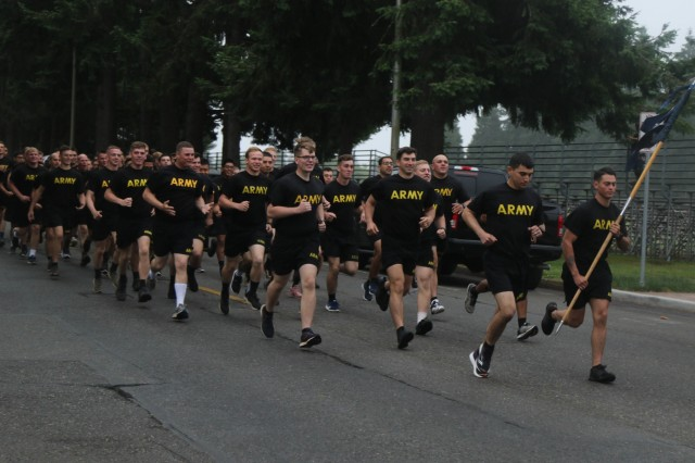 U.S. Army Soldiers with I Corps participated in a 4-mile run lead by Lt. Gen. Gary Volesky, I Corps commanding general, at Joint Base Lewis-McChord June 14.