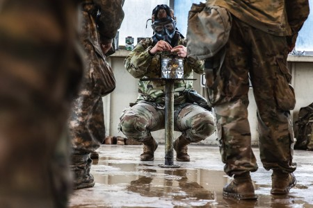 The 9th U.S. Cavalry Regiment conducted nuclear, biological, and chemical training, May 8. NBC training gives Soldiers confidence in their equipment by exposing them to a controlled level of CS gas before they are allowed to re-seal their masks