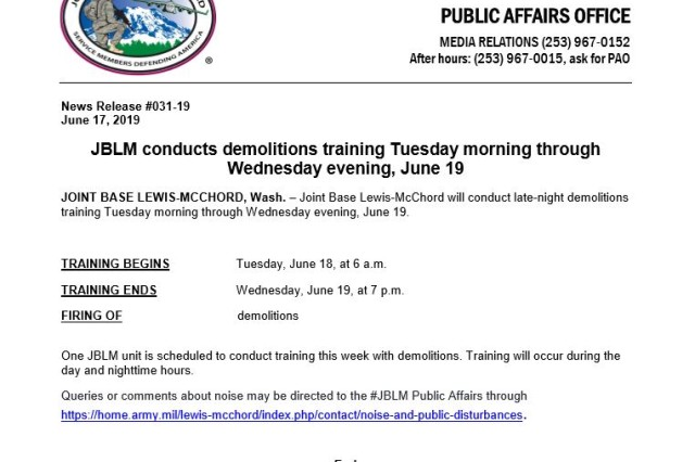 One Joint Base Lewis-McChord unit will conduct day and nighttime training with demolitions.