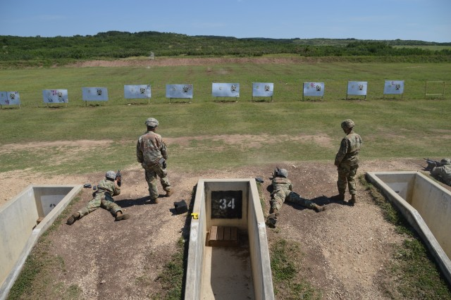 Soldiers participate in an M-16 qualification June 13, 2019 during the Brooke Army Medical Center Best Medic Competition at Camp Bullis, Texas. The competitors were tested on both warrior and medic skills during the competition.