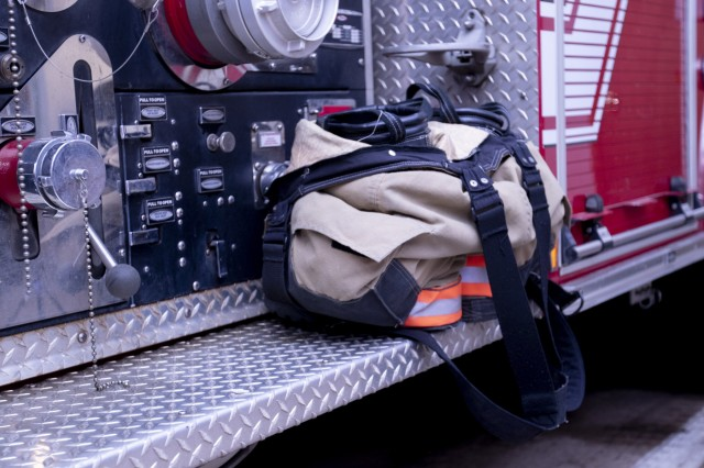 Fireman boots and pants stand ready on a fire engine at Fort Carson Fire Department Fire Station 32, Fort Carson, Colo. March 3, 2019. Fire fighters setup their gear to ensure a fast response when dispatched to an emergency call.