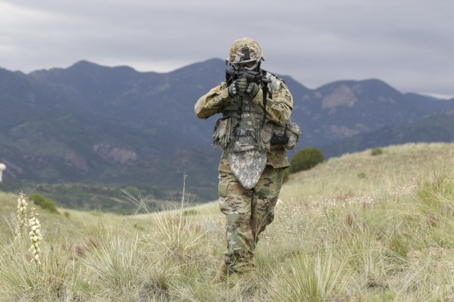 100th Missile Defense Brigade (GMD) Soldiers participate in a Situational Training Exercise at the Regional Training Institute at Fort Carson, Colo., June 12, 2019. The Soldiers conducted squad level movement, maneuver and assault operations using simulated rounds, aided by the 2-135th General Support Aviation Battalion of the Colorado Army National Guard, who provided one UH-60 Black Hawk helicopter for airlift and medevac training and operations.