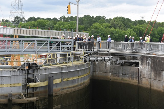 Members of the Lower Mekong Initiative, an international team from Cambodia, Laos, Myanmar, Thailand and Vietnam, and U.S. officials visit Chickamauga Lock on the Tennessee River in Chattanooga, Tenn., June 12, 2019. They toured the Tennessee Valley Authority project where the U.S. Army Corps of Engineers Nashville District operates and maintains the lock at the invitation of the United States in support of water development in the Lower Mekong River Basin. (USACE photo by Leon Roberts)