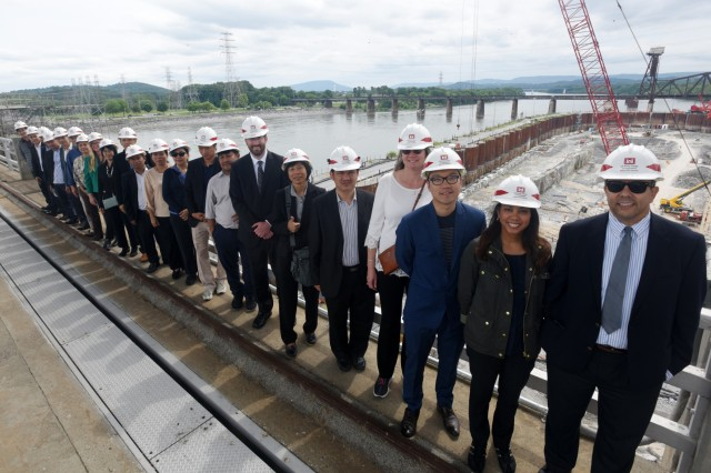 Members of the Lower Mekong Initiative, an international team from Cambodia, Laos, Myanmar, Thailand and Vietnam, and U.S. officials pose together at the Chickamauga Lock Replacement Project June 12, 2019 on the Tennessee River in Chattanooga, Tenn. The U.S. Army Corps of Engineers Nashville District is constructing a new navigation lock at the Tennessee Valley Authority project. (USACE photo by Leon Roberts)
