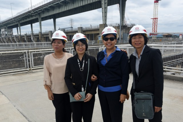 Members of the Lower Mekong Initiative pose together at Chickamauga Lock June 12, 2019 on the Tennessee River in Chattanooga, Tenn. They toured the Tennessee Valley Authority project where the U.S. Army Corps of Engineers Nashville District operates and maintains the lock at the invitation of the United States in support of water development in the Lower Mekong River Basin. (USACE photo by Leon Roberts)