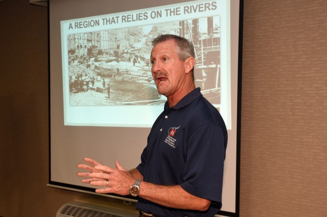 Randy Kerr, U.S. Army Corps of Engineers Nashville District Water Management Section hydraulic engineer, provides a detailed overview of the Cumberland River System to members of the Lower Mekong Initiative in Nashville, Tenn., June 13, 2019. (USACE photo by Leon Roberts)
