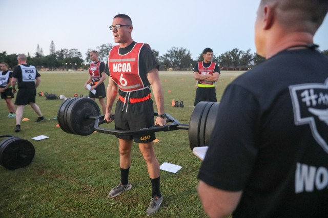 Spc. Alexander Vandermark, a Patriot missile system repairer with 94th Army Air and Missile Defense Command, performs the deadlift as part of the Army Combat Fitness Test during USARPAC's 2019 Best Warrior Competition, June 2, 2019 on Schofield Barracks, Hawaii. This year's competitors are stationed in Guam, Alaska, Japan, Korea and Hawaii.