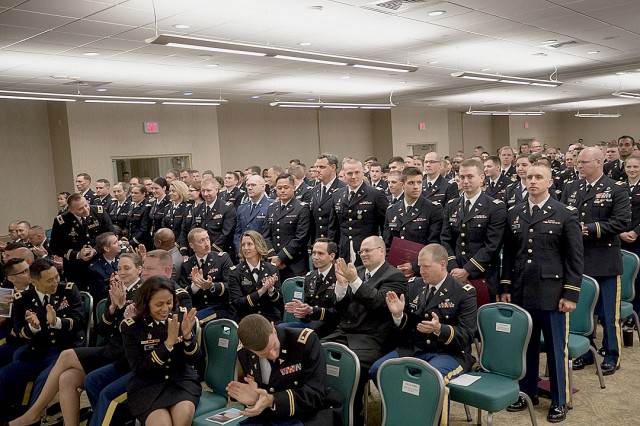 Madigan Army Medical Center's graduating residents, fellows and interns at the graduation ceremony for healthcare professionals on June 14 at American Lake Conference Center on Joint Base Lewis-McChord, Wash.