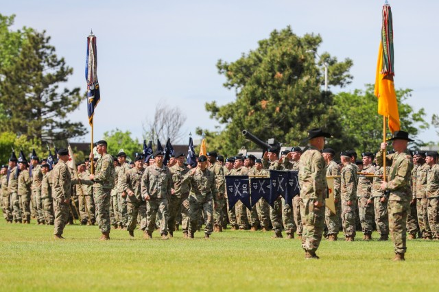 Brig. Gen. Joseph A. Ryan, deputy commanding general-support for the 4th Infantry Division, salutes leaders in the formation, June 13, 2019, during a 2nd Infantry Brigade Combat Team, 4th Inf. Div. change of leadership ceremony on Fort Carson, Colorado. Col. Dave J. Zinn and Command Sgt. Maj. Vincent Simonetti relinquished authority and responsibility of the brigade to Col. Scott P. Knight Jr. and Command Sgt. Maj. Steve R. Chandler Jr. (U.S. Army photo by Staff Sgt. Neysa Canfield)