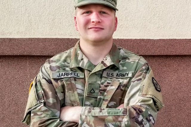 Private 1st Class James Jarrell, an interior electrician in the West Virginia Army National Guard, poses for a photo June 17, 2019. Jarrell works for the RISE West Virginia program to assist West Virginians affected by the devastating 2016 flood.
