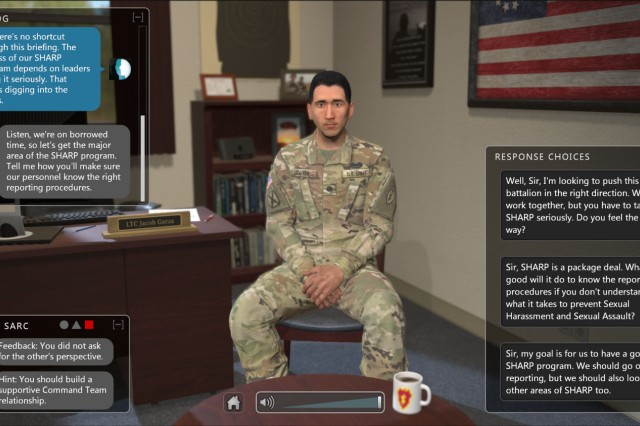Soldiers can interact with this digital Soldier in a digital interactive program called the Emergent Leader Immersive Training Environment. ELITE allows Soldiers to quickly educate themselves on how to respond to incidents of sexual assault and sexual harassment.