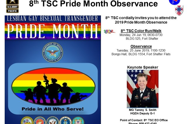 Come join the 8th TSC in welcoming Maj. Gen. Tammy S. Smith, HQDA Deputy G-1, as the keynote speaker for the LGBT Pride Month Observance. See below for place and time. See you there!