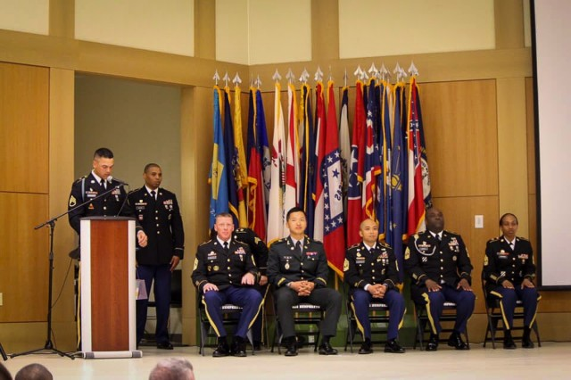 """CAMP HUMPHREYS, Republic of Korea - Senior non-commissioned officers with 1st Battalion, 67th Armored Regiment """"Death Dealers"""", 3rd Armored Brigade Combat Team """"Bulldog"""", 1st Armored Division (Rotational), 2nd Infantry Division/ROK-U.S. Combined Division, facilitate the Death Dealers NCO Induction Ceremony at Camp Humphreys, May 3. The NCO Induction Ceremony is a time-honored tradition symbolizing the transition from junior-enlisted Soldier to the NCO Corps. (Courtesy photo)"""