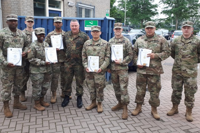 U.S. Army Benelux Soldiers participated in weapons-firing qualifications in Geilenkirchen, Germany, May 16, 2019, to earn the German Armed Forces Badge for Weapons Proficiency known as the Schützenschnur.