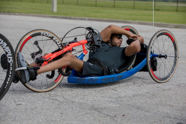 U.S. Army Spc. Brent Garlic veteran activity 06/19/2019 MacDil Air Force Base during the 2019 Department of Defense Warrior Games are conducted June 21-30, hosted by Special Operations Command, Tampa, Florida. It is an adaptive sports competition foe wounded , ill and injured service members and veterans. Approximately 300 athletes repesenting teams from the Army, Marine Corps, Navy, Air Force, Special Operations Command, United Kingdom Armed Forces, Australian Defence Forces, Canadian Armed Forces, Armed Forces of the Netherland, and the Danish Armed Forces will compete in archery, cycling, shootinbg,sitting volleyball, swimming, track, field, wheelchair basketball, indoor rowing, powerlifting, and for the first time in Warrior Games history, golf, wheelchair tennis, wheelchair rugby,and mountain biking.(U.S Army photo by PFC Dominique Dixon)