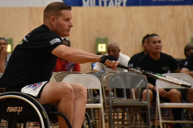 Sgt. 1st Class Ian Crawley, assigned to the Fort Campbell Warrior Transition Battalion competes in the wheelchair tennis finals during Pacific Regional Trials 2018, an adaptive sporting competition bringing together about 100 wounded, ill, and injured Soldiers and veterans representing U.S. Army Regional Health Commands in the Atlantic, Central, and Pacific, and 12 Warrior Transition Battalions. Crawley went on to earn a spot on Team Army for the 2019 Department of Defense Warrior Games in Tampa, Florida, June 21 - 30. He is one of Fort Campbell WTB Soldiers competing.