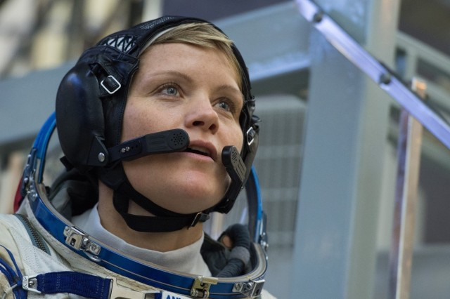 U.S. Army Astronaut Lt. Col. Anne McClain is captured in this photo during a media opportunity while serving as backup crew for NASA Expedition 56 to the International Space Station May, 2018, at the Baikonur Cosmodrome, Kazakhstan. Courtesy Asset: NASA