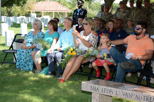 Pictured (left to right) are SMA(Ret.) Leon Van Autreve's widow, Mrs. Rita Van Autreve, his daughter Robin Anthony, his son-in-law Gary Anthony, his daughter Jodi Bearden, his great-granddaughter Makena Shipkey and his grandson Ryan Shipkey during the 2019 ceremony honoring the former Sergeant Major of the Army.