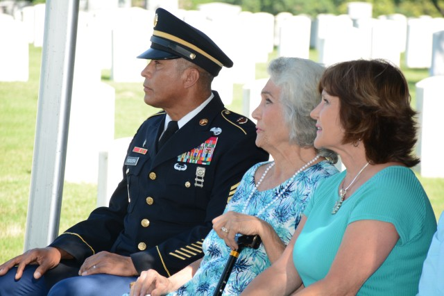 (Pictured left to right) CSM Napoleon Noguerapayan with SMA Van Autreve's widow, Mrs. Rita Van Autreve and his daughter Robin Anthony at the 2019 ceremony honoring SMA (Ret) Leon Van Autreve at JBSA-Fort Sam Houston.