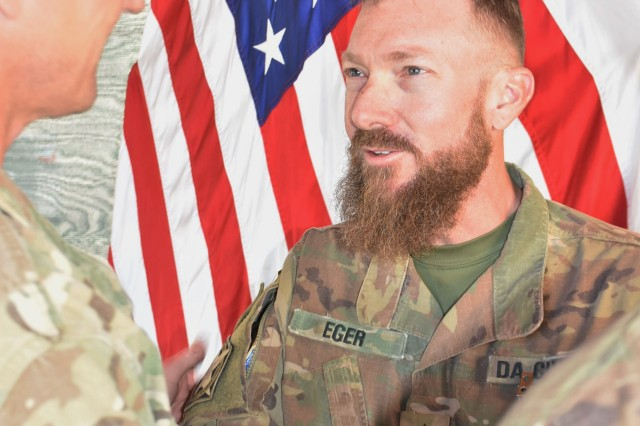 Bagram Airfield Range Officer Stephen Eger is recognized for his service in Afghanistan during a June 2019 ceremony at the ASG-A Headquarters.