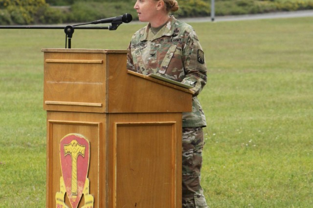 Col. Michelle K. Donahue, commander, 16th Sustainment Brigade, gives a speech during a Change of Command ceremony at Tower Barracks Parade Field, Grafenwoehr, Germany, June 21, 2019. During the ceremony, outgoing Commander Lt. Col. Jonathan W. Meisel formally relinquished his authority, responsibility and accountability of the 18th Combat Sustainment Support Battalion to incoming Commander Lt. Col. Charles V. Jaquillard. (U.S. Army photo by Staff Sgt. Sinthia Rosario, 16th Sustainment Brigade Public Affairs)