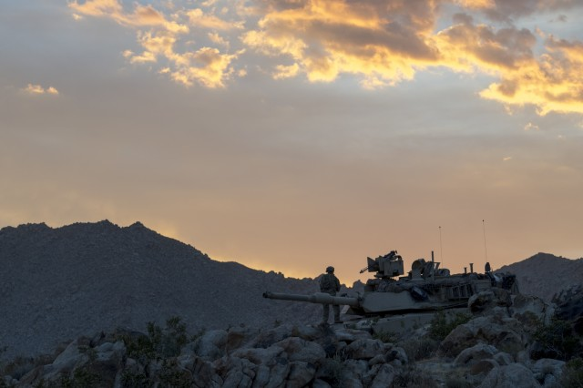 An M1A2 Abrams Main Battle Tank from the Oregon Army National Guard's 3rd Battalion, 116th Cavalry Regiment, 116th Cavalry Brigade Combat Team provides security for the unit's tactical operations center during a National Training Center rotation on Fort Irwin, California, June 5, 2019. The M1A2 is a third-generation main battle tank.