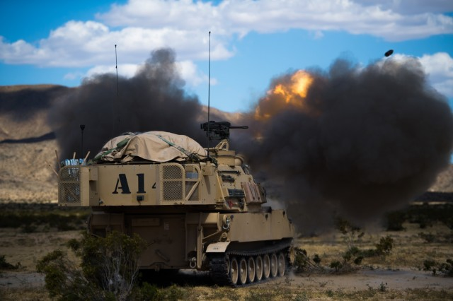 Idaho Army National Guard Soldiers, 1-148th Field Artillery Regiment of the 116th Cavalry Brigade Combat Team, conducts field artillery live-fire calibration May 30, 2019, at the National Training Center.  The 116th Cavalry Brigade Combat Team is training at the National Training Center May 24 through June 20 to prepare for its wartime mission. The rotation builds unit and Soldier proficiency to provide combatant commanders with a trained and ready force capable of fighting and winning our nation's wars.