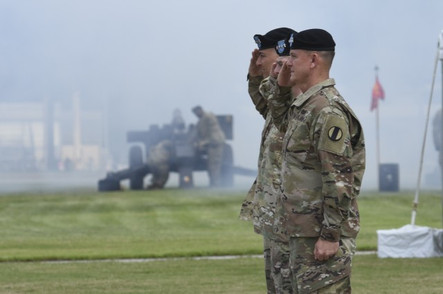 Gen. Paul E. Funk II (front), Chief of Staff of the Army Gen. Mark A. Milley (center), and Gen. Stephen J. Townsend, former commanding general of U.S. Army Training and Doctrine Command, salute for honors to the host during a change of command ceremony at TRADOC headquarters, Fort Eustis, Va., on June 21, 2019. Townsend relinquished command to Funk during the ceremony, hosted by Milley. As TRADOC commander, Funk is responsible for 32 Army schools organized under eight Centers of Excellence that recruit, train and educate of more than 500,000 Soldiers and service members annually.