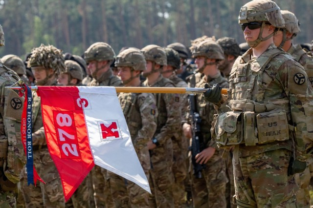 eFP Battle Group Poland soldiers participate in the opening ceremony for PUMA 19 at the Bemowo Piskie Training Area.