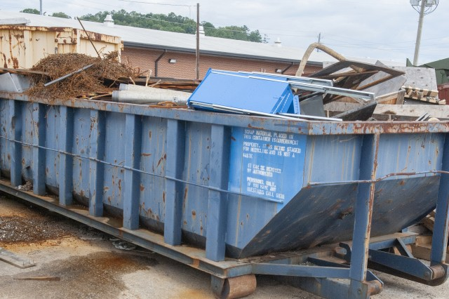 Recycling roll-offs, such as the one seen here, will soon be replaced with roll-offs from a contractor as recycling is scaled back at Anniston Army Depot.