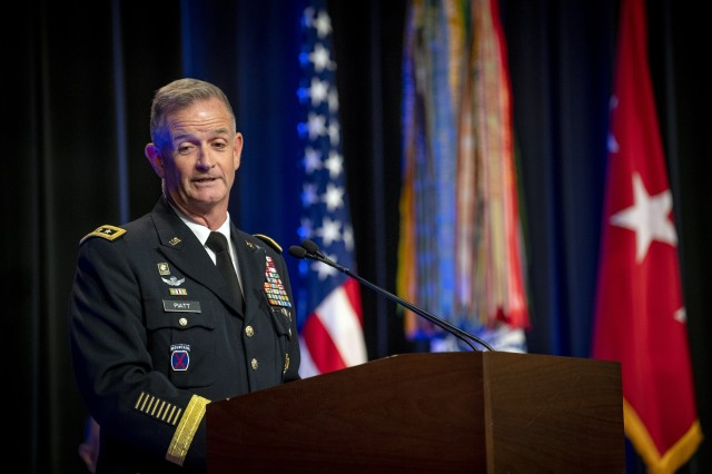 Director of the Army Staff Lt. Gen. Walter E. Piatt speaks at the 32nd annual General Douglas MacArthur Leadership Awards Ceremony at the Pentagon, June 21, 2019. Thirty recipients from across the Army were recognized by their leadership for embodying the ideals the historical military leader stood for, including duty, honor, and country. The award recipients represented Soldiers from the regular Army, National Guard, and Army Reserve.